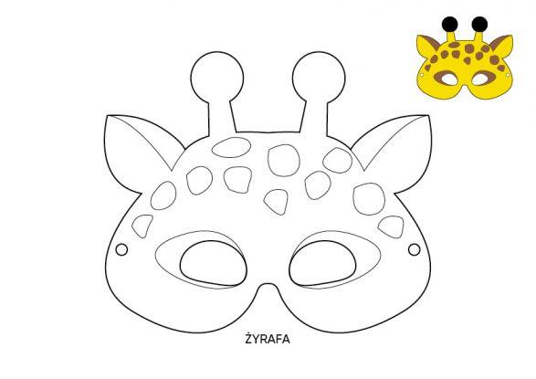 maska karnawałowa żyrafa szablon