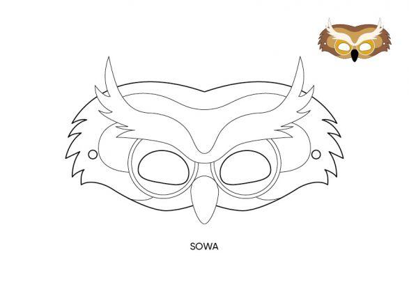 maska karnawałowa sowa szablon