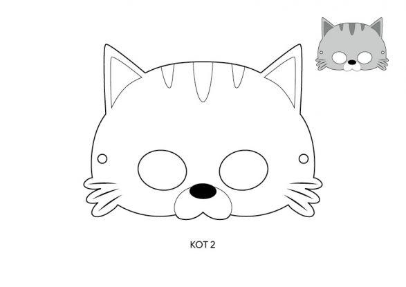 maska kota szablon 2