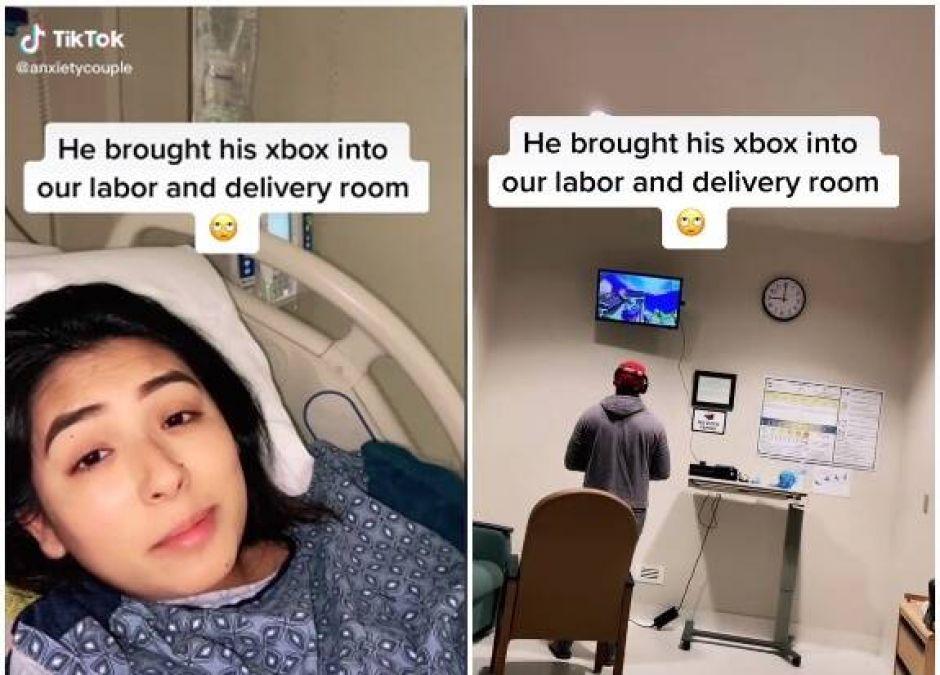 mężczyzna zabrał konsolę na porodówkę