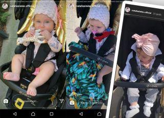 Mia córeczka Siwiec w wózku ze złotymi skrzydłami i z turbanem na głowie HIT