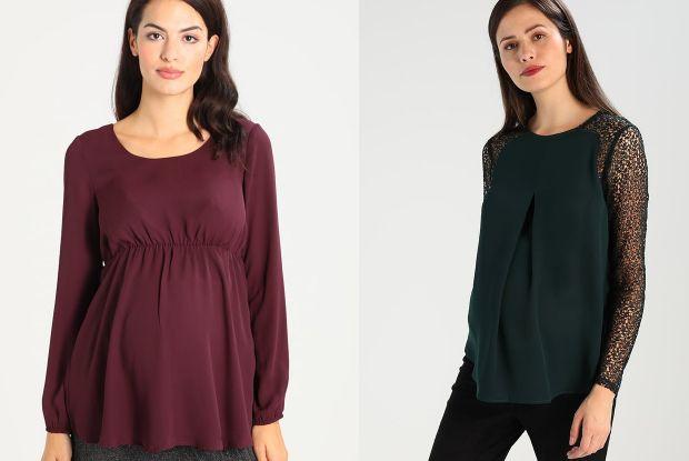 bluzka ciążowa bakłażanowa i bluzka ciążowa ciemna zieleń z koronkowymi rękawami