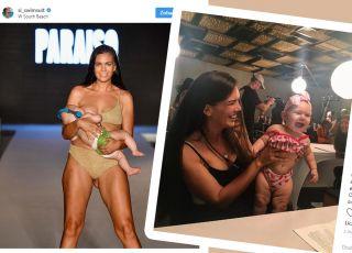 modelka karmiła dziecko piersią na wybiegu