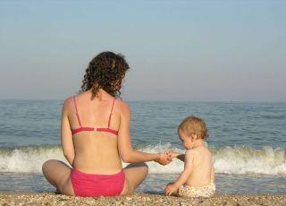 morze, plaża, kobieta, niemowlę, wakacje, lato