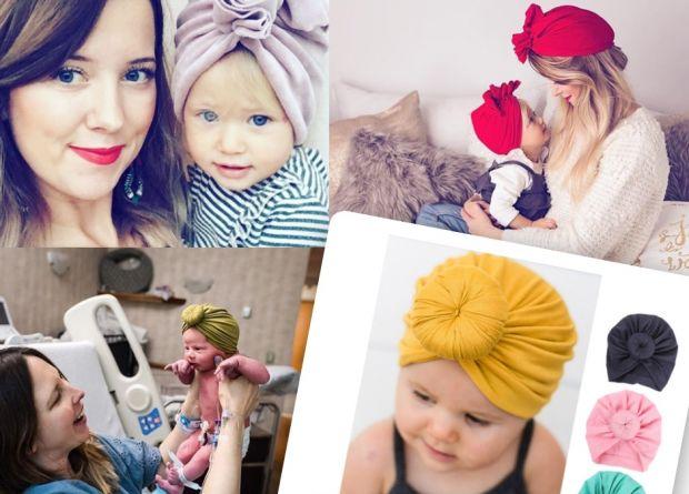 turban dla niemowlaka, czapka turban dla dzieci, turban opaska dla dziewczynki