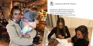 Natalia Siwiec w modnej kurtce H&M i córeczka Mia w tęczowej kurteczce GAP