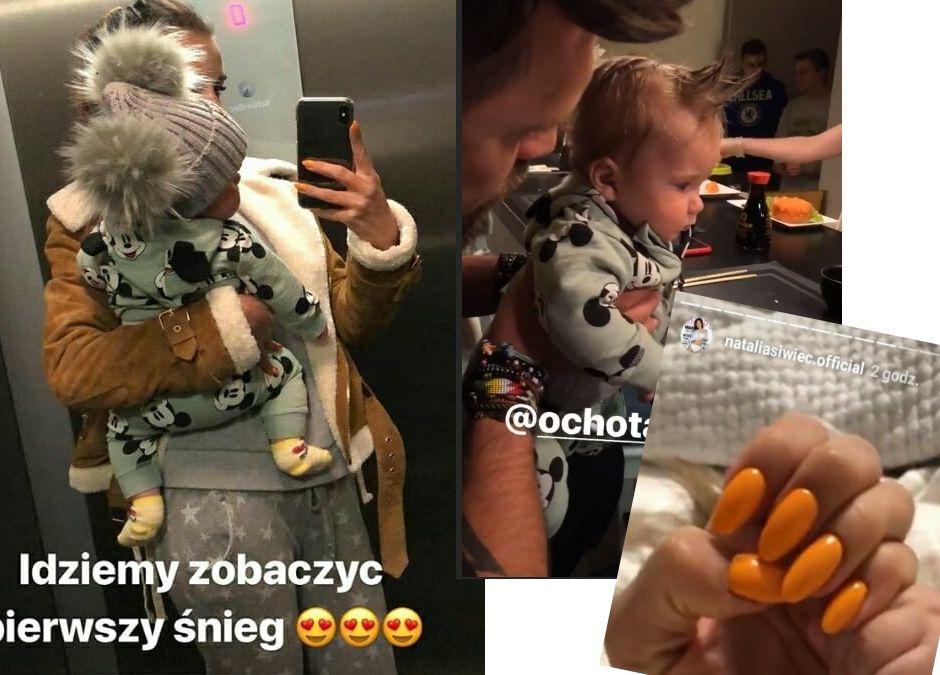 Natalia Siwiec z córeczką Mią, stylowe, shushi i żółte paznokcie mamy