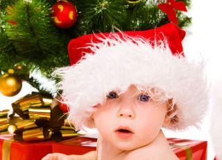 niemowlę, choinka, prezent, święta