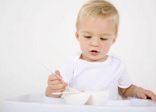 niemowlę, kuchnia, jedzenie, miseczka, jeść