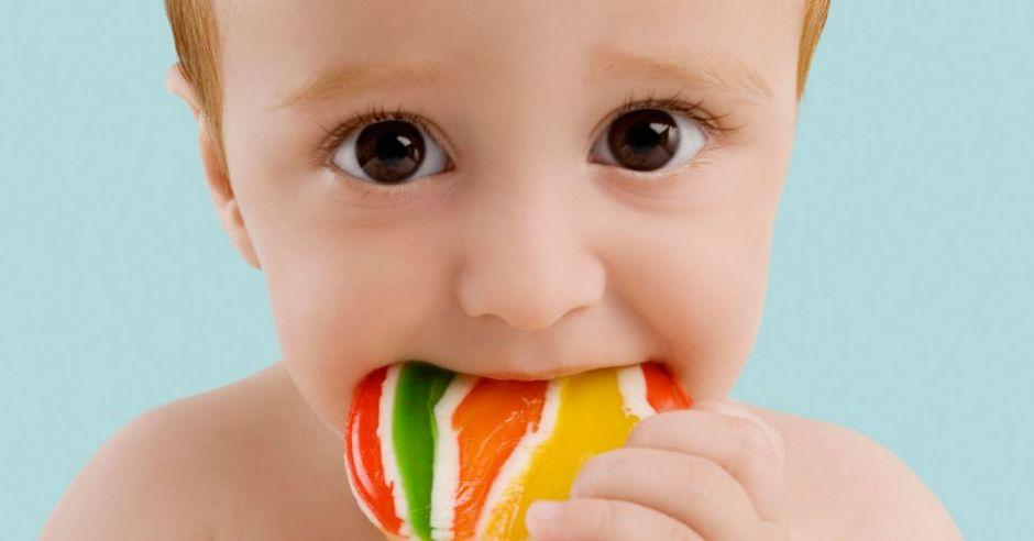 niemowlę, lizak, słodycze