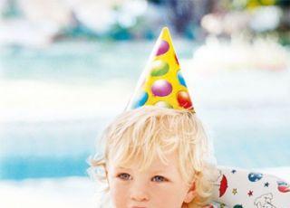 niemowlę, urodziny, tort, świeczka