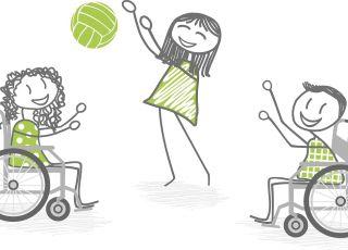 Niepełnosprawne dzieci podczas zabawy, niepełnosprawność, wózek inwalidzki, zabawa, gra w piłkę