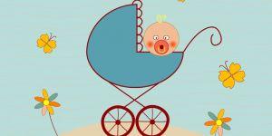 noworodek i goście, kartka z okazji narodzin