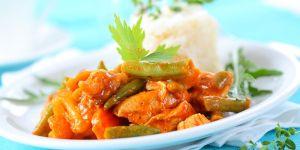 obiad, mięso, kurczak, ryż, kuchnia
