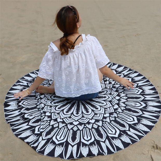 okrągły kocyk plażowy ręcznik plażowy modny orientalne wzory.jpg