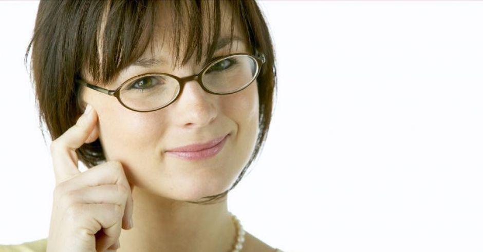 okulary, kobieta, uśmiech