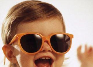 okulary, niemowlę, uśmiech