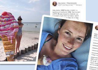 Olga Frycz w kostiumie kąpielowym w ciąży