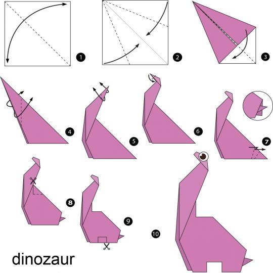 origami dla dzieci dinozaur