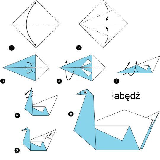 origami dla dzieci łabędź