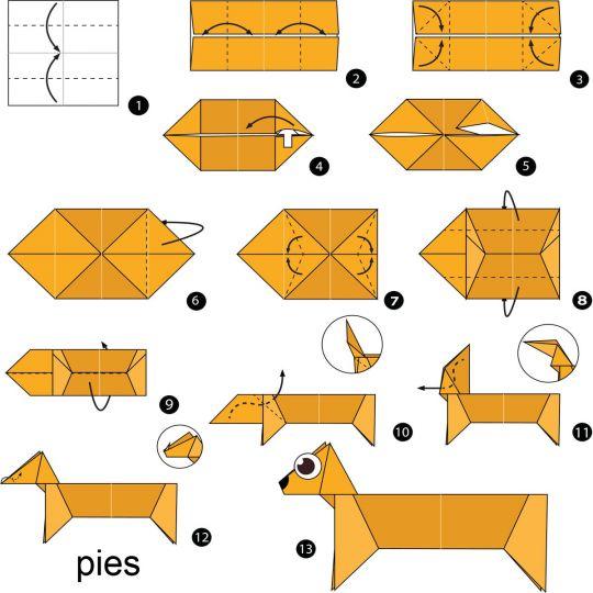 origami dla dzieci pies