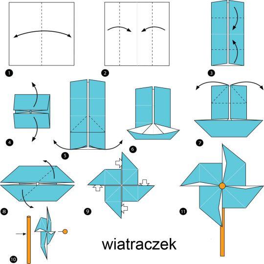 origami dla dzieci wiatraczek