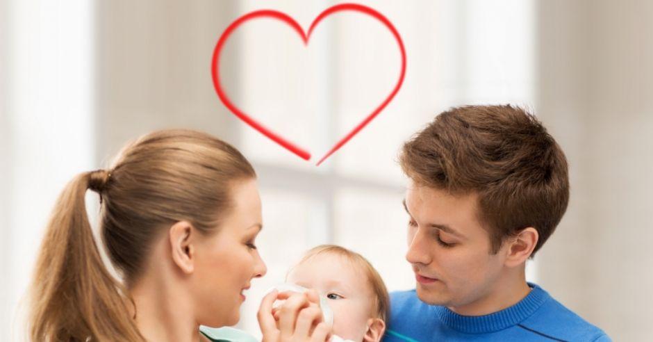 para, rodzina, dziecko, walentynki, serce