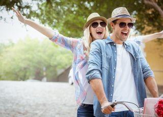 para, związek, radość, jazda na rowerze