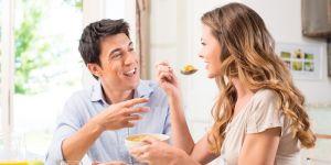 para, związek, wspólny posiłek, radość, jedzenie, dieta