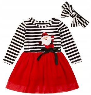 Sukienka świąteczna z Mikołajem