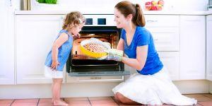 pieczenie, ciasto, dziecko, mama, piekarnik