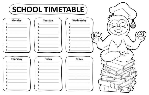 plan lekcji do druku czarno-biały