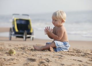 plaża, morze, niemowlę, lato