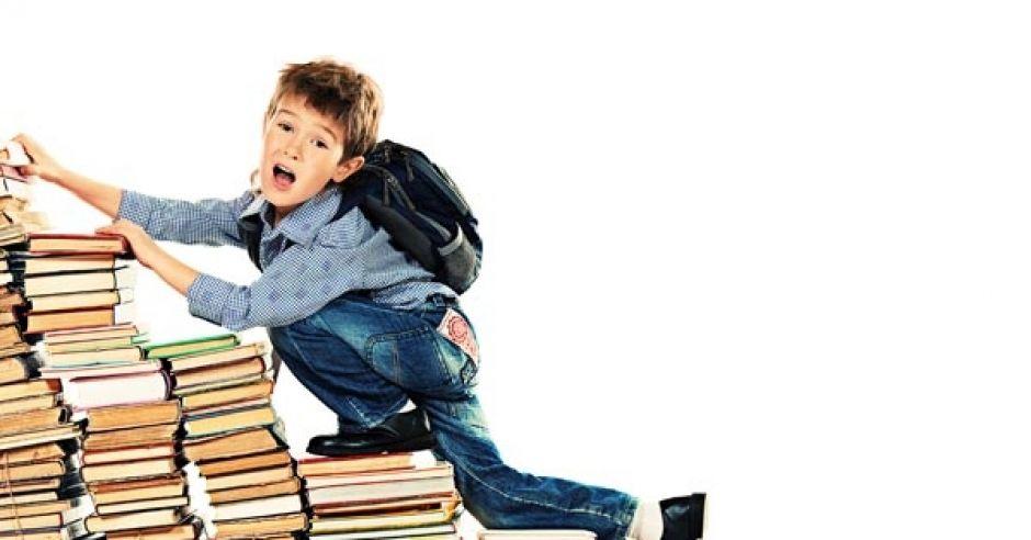 podręczniki, książki, dziecko, uczeń
