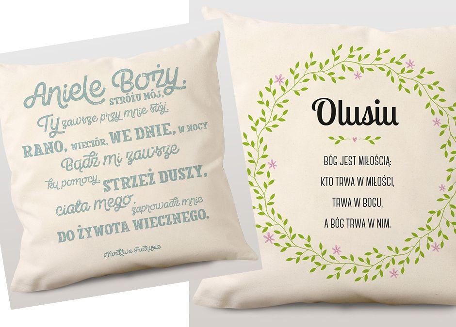 poduszki z modlitwą lub cytatem prezent na komunię dla dziecka
