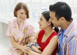 położna, rodzice, noworodek, szpital, mama, tata