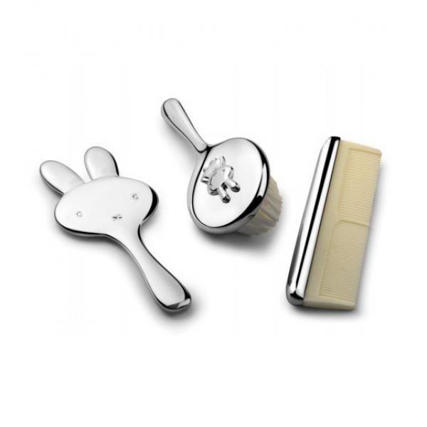 srebrna szczoteczka i grzebyk na prezent na chrzciny