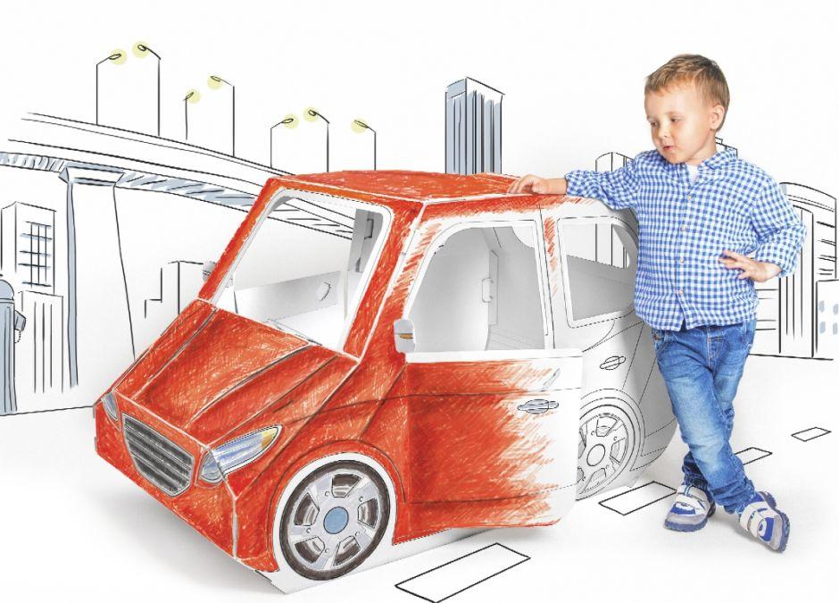 Prezent dla czterolatka, który kocha auta -  tekturowy samochd do składania i kolorowania Tektorado