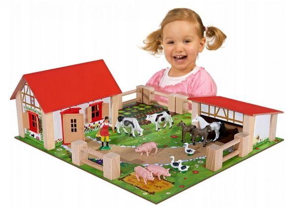 prezent dla dziewczynki farma drewniana