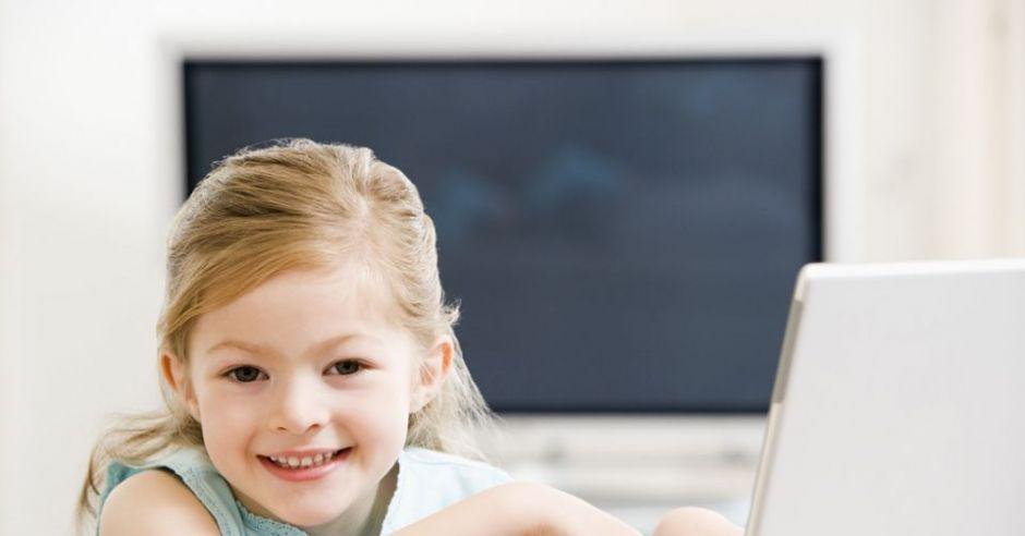przedszkolak, komputer, dziecko, dziewczynka