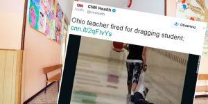Przedszkolanka ciągnie dziecko po podłodze
