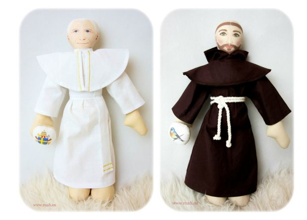 przytulanki Święty Franciszek i papież Jan Paweł II prezent na komunię