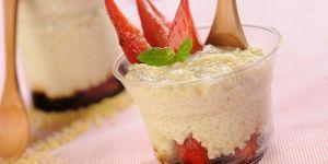 Pudding z kaszy jaglanej z truskawkami - przepis na pudding