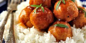 pulpety, ryż, danie, jedzeniem kuchnia