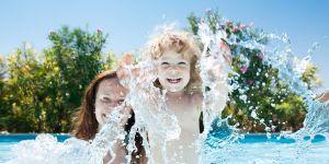 pływanie, dziecko, woda, morze
