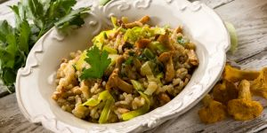 risotto, ryż, grzyby, mięso