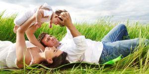 rodzice, niemowlę, łąka, dziecko, lato, piknik