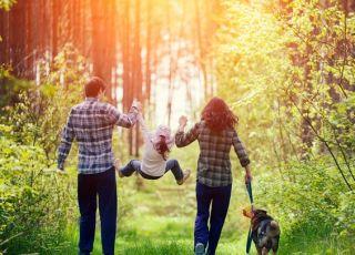 Rodzice spacerują z dziećmi i odkrywają świat