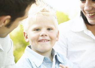 rodzice, syn, chłopiec, uśmiech
