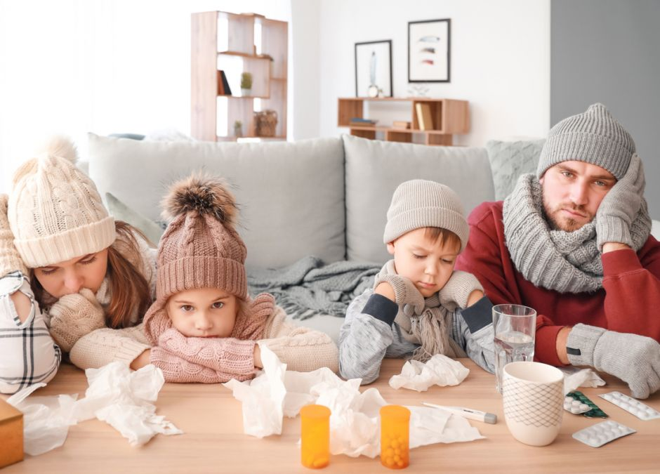 Rodzina chora na grypę